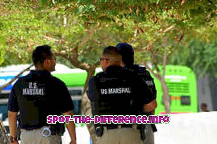 popularne usporedbe: Razlika između policajca i američkog maršala