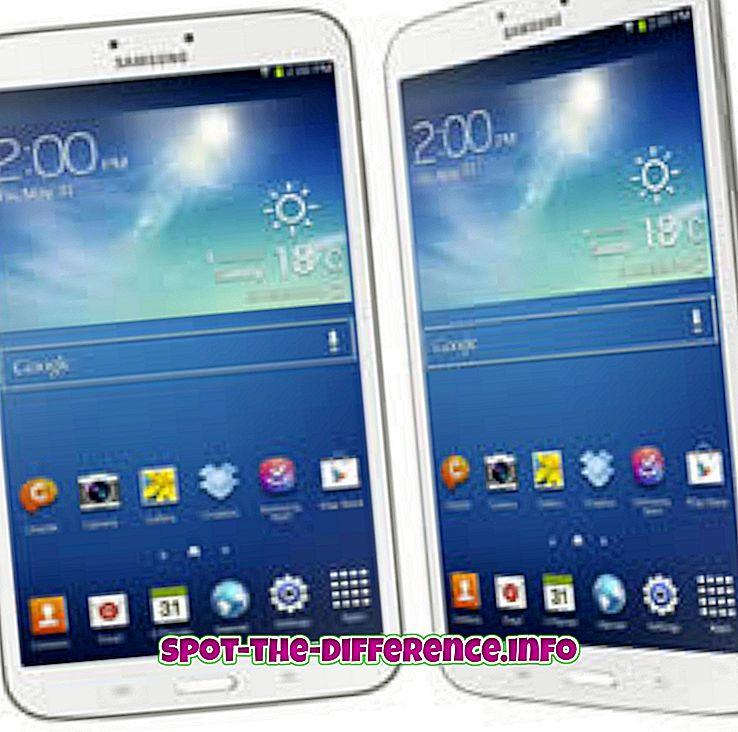 Forskjell mellom Samsung Galaxy Tab 3 8.0 og Samsung Galaxy Tab 2 7.0