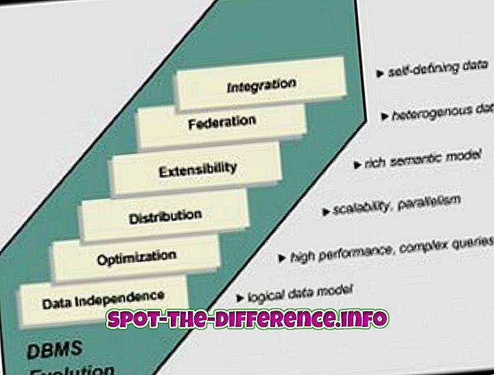 populární srovnání: Rozdíl mezi DBMS a RDBMS