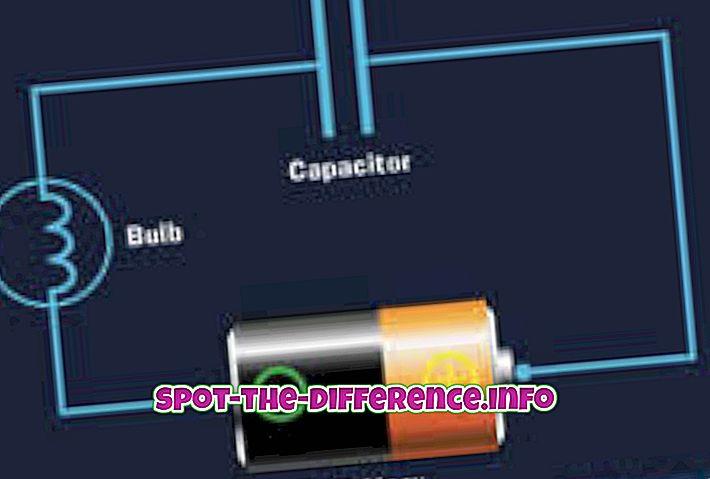 Forskel mellem kondensator og batteri
