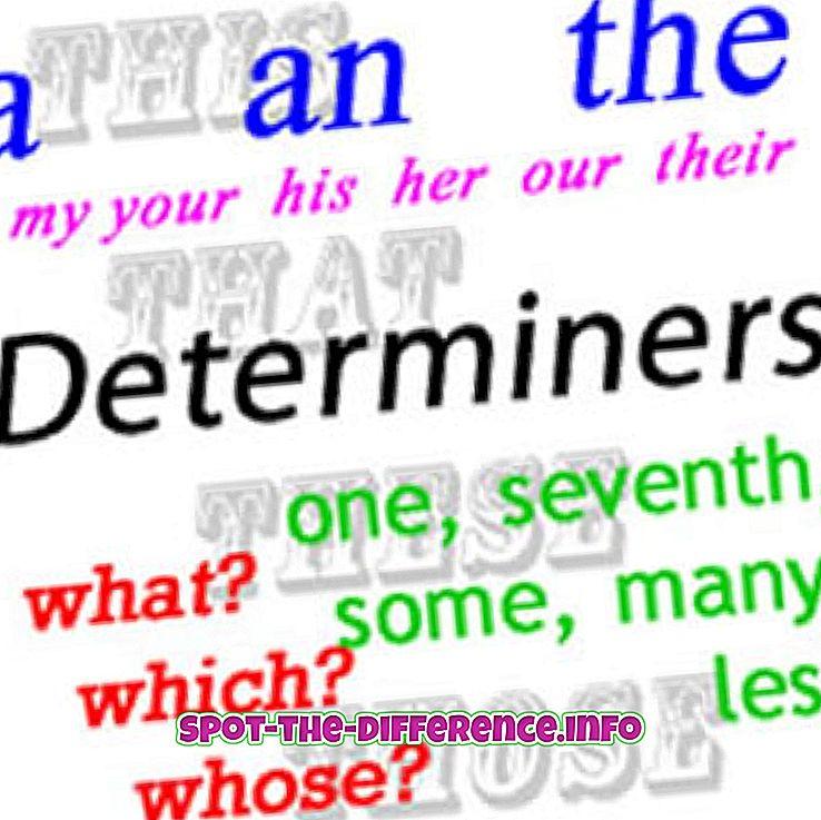 Różnica między determinatorami i przymiotnikami