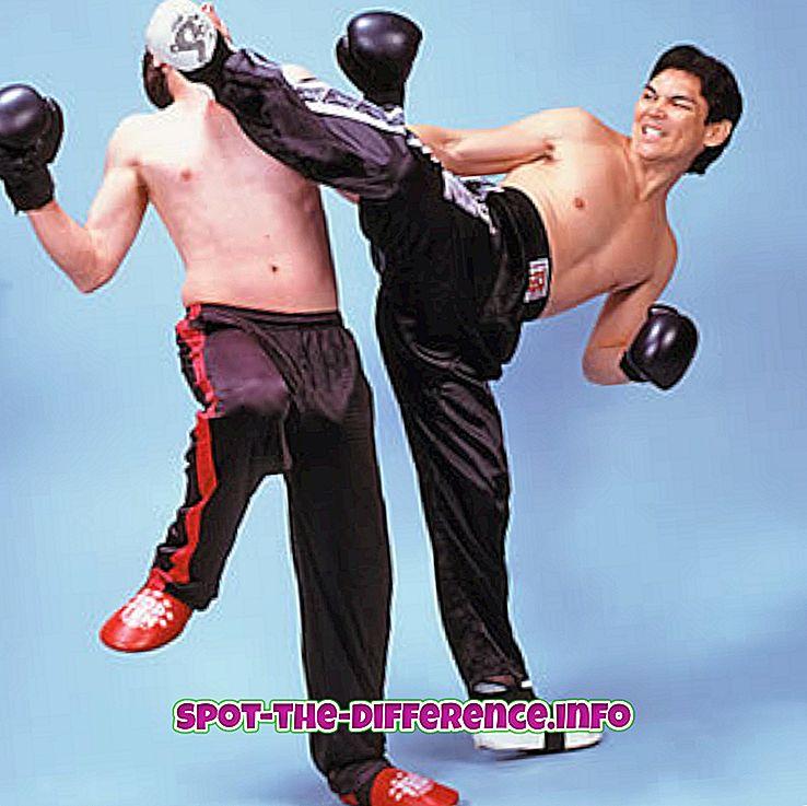 Forskjell mellom Kickboxing og Thai Boxing