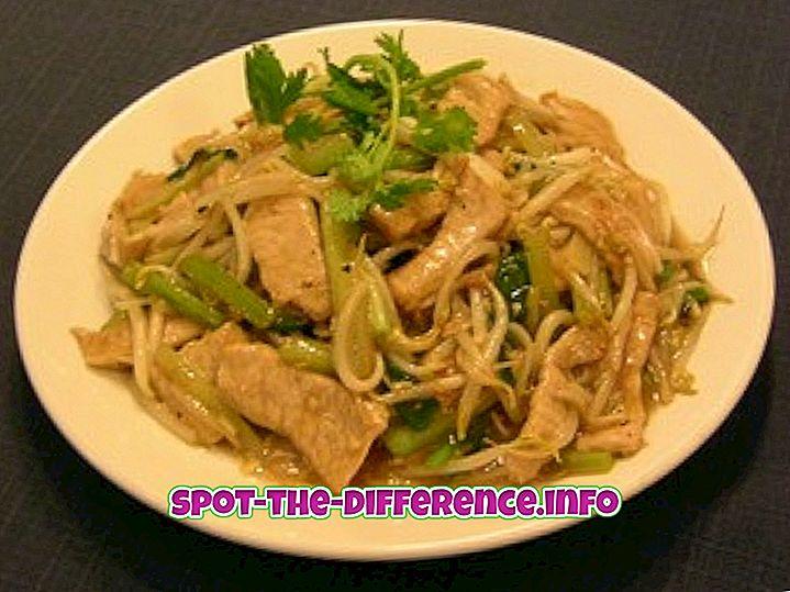 Forskel mellem kinesisk chop suey og American Chop suey