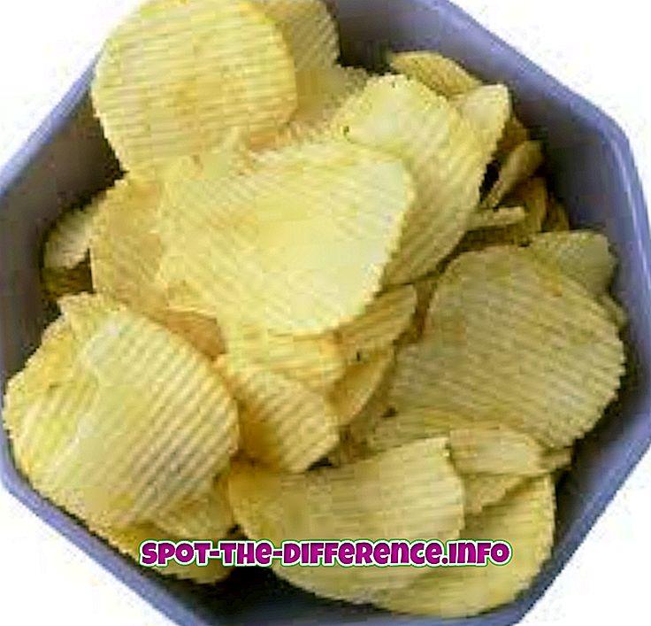 populære sammenligninger: Forskel mellem Chips og Waffers