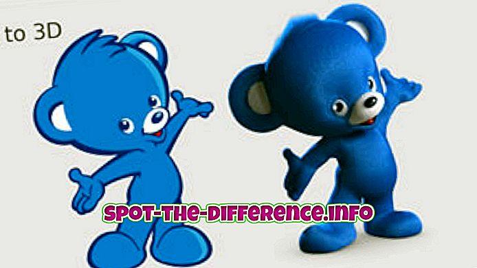 tautas salīdzinājumi: Starpība starp 2D, 3D un 4D