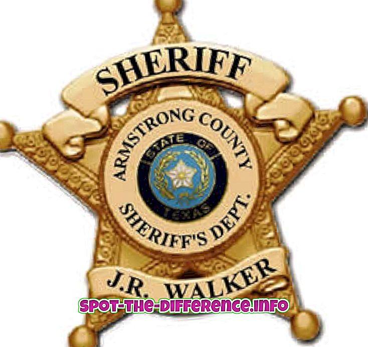 Rozdiel medzi šerifom a Cop