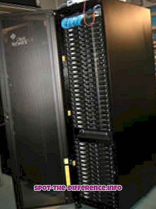 tautas salīdzinājumi: Starp Rack un Blade serveriem