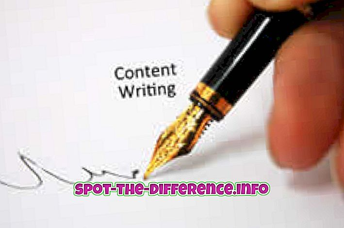 populární srovnání: Rozdíl mezi spisovatelem obsahu a copywriter