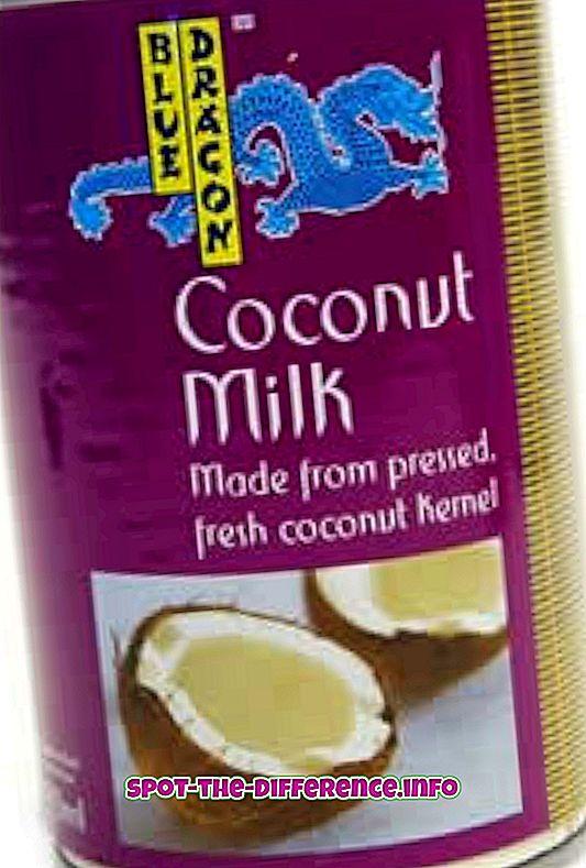 Forskel mellem kokosmælk og creme af kokosnød